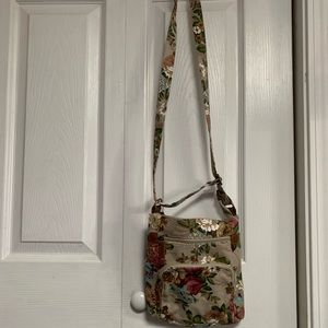 Handbags - Cute floral small canvas crossbody bag.